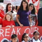 Liz joins a demonstation against the closure of Glenfield's children's heart surgery unit