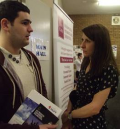 Liz meeting with a constituent at Leicester West Jobs Fair