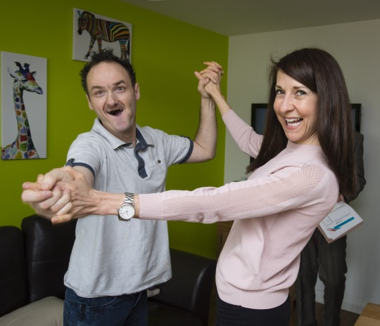 Image 1 Leicester MP Liz Kendall pictured dancing with person supported, Martin Smith